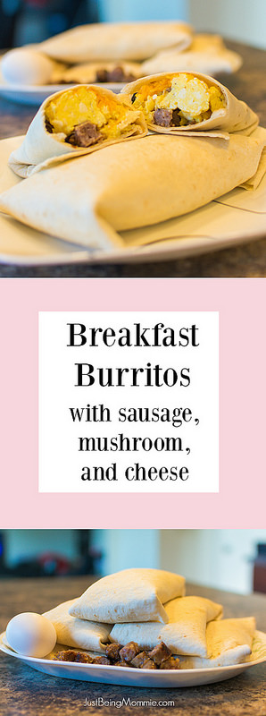 Breakfast Burrito with Sausage, Mushroom & Cheese